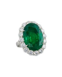 Diana M. Jewels Faceted Oval Emerald And Diamond Ring In Platinum