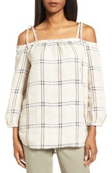 Nordstrom Women's Collection Off The Shoulder Plaid Top