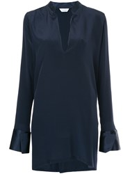 Kacey Devlin Deep V Shift Dress Blue