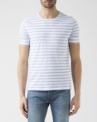 Knowledge Cotton Apparel White And Blue Striped T Shirt