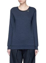 Stella Mccartney 'Falabella' Chain Cotton French Terry Sweater Blue
