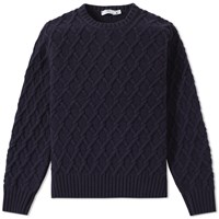 Inis Meain Trellis Cable Crew Knit Blue