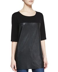 Bagatelle Half Sleeve Knit And Leather Top Black