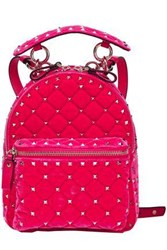Valentino Garavani Woman Studded Quilted Velvet Backpack Fuchsia