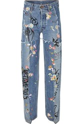 Vetements Distressed Embellished Straight Leg Jeans Mid Denim