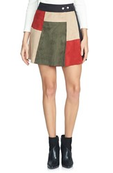 1.State Women's Colorblock Faux Suede A Line Miniskirt