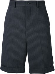 Comme Des Gara Ons Homme Plus Striped Pleated Shorts Grey
