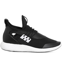 Adidas Y3 Elle Run Leather And Neoprene Trainers Black White