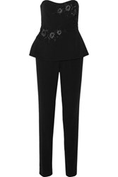 Marchesa Notte Embellished Crepe Jumpsuit Black