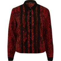 River Island Womens Red Contrast Print Frill Shirt