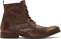 Hudson Brown Leather Wingtip Angus Boots