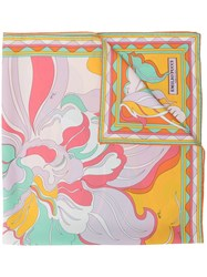 Emilio Pucci Rivera Print Silk Twill Scarf Orange