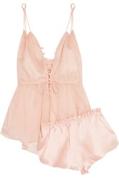 Three Graces London Adriana And Ariel Cotton Mousseline And Silk Satin Pajama Set Neutral