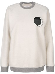 Julien David Davidhield Print Sweatshirt Cotton S White