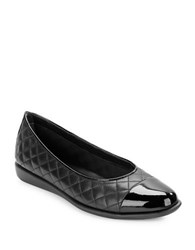 The Flexx Rise A Smile 2 Cap Toe Quilted Leather Flats Black
