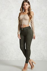Forever 21 Faux Suede Foldover Leggings Olive