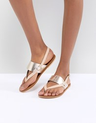 Warehouse Sandals With Toe Post Silver