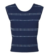 Sandro Nea Ribbed Sleeveless Top Female Blue