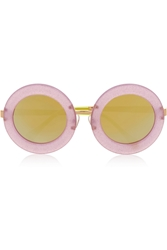 Markus Lupfer Round Frame Acetate Mirrored Sunglasses