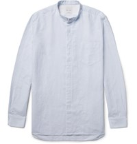Paul Smith Slim Fit Grandad Collar Slub Cotton Shirt Sky Blue