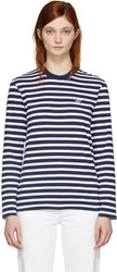Maison Kitsune Navy And White Long Sleeve Striped Tricolor Fox T Shirt