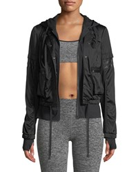 Blanc Noir Skyfall Hooded Bomber Jacket Black