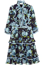 Gucci Ruffled Floral Print Silk Crepe De Chine Dress Navy