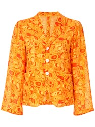Yohji Yamamoto Vintage Cropped Kaleidoscope Print Blazer Yellow And Orange