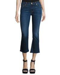 7 For All Mankind New Luxe Cropped Boot Cut Jeans With Raw Hem B Air Duchess Indigo