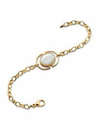 Monica Rich Kosann Mother Of Pearl Locket Station Bracelet In 18K Yellow Gold