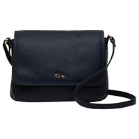 Tula Nappa Originals Leather Small Flap Over Across Body Bag Pebble Dark Blue