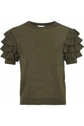 Red Valentino Tiered Ribbed Knit Wool Silk And Cashmere Blend Top Army Green