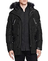 The Kooples Heavy Nylon And Leather Puffer Coat Black