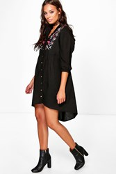 Boohoo Embroidered Black Denim Shirt Dress Black