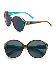 Judith Leiber 59Mm Embellished Round Sunglasses Brown Green