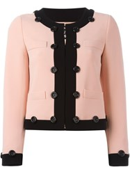 Boutique Moschino Contrast Trim Cropped Jacket Pink And Purple