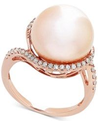 Honora Style Pink Cultured Freshwater Pearl 13Mm And Diamond 1 4 Ct. T.W. Ring In 14K Rose Gold