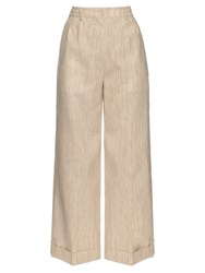 Hillier Bartley Wide Leg Camel Canvas Trousers Beige