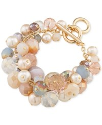 Carolee Gold Tone Imitation Pearl And Multi Color Bead Cluster Toggle Bracelet