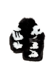 Fendi Logo Print Fox Fur Scarf Black