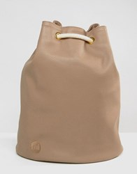 Mi Pac Tumbled Faux Leather Drawstring Backpack Mushroom Beige