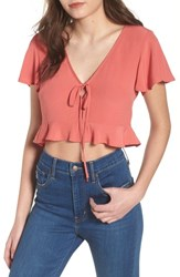 Leith Ruffle Tie Front Crop Top Coral Faded