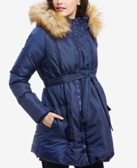 Motherhood Maternity Three In One Belted Quilted Puffer Coat Navy