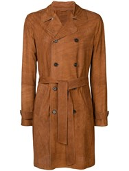 Desa 1972 Perforated Double Breasted Coat Brown