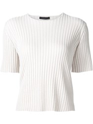 The Row Ribbed Knit T Shirt Nude And Neutrals