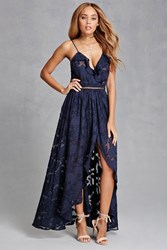 Forever 21 Floral Maxi Surplice Dress Navy