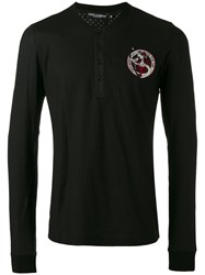 Dolce And Gabbana Jazz Musician Patch Henley Top Black