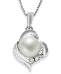 Macy's Sterling Silver Necklace Cultured Freshwater Pearl 8Mm And Diamond Accent Knot Pendant White
