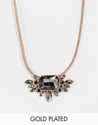 Pilgrim Rose Gold Statement Jewel Necklace Rosegold Grey