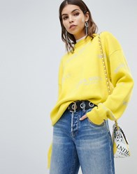 Miss Sixty Wool Knit With All Over Logo Yellow